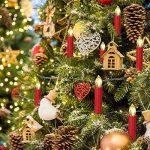 SunJas Guirlande Lumineuse de Noël 40 Bougies LED Blanc Chaud à Pince pour Sapin arbre de Noël avec télécommande sans fil chandelles LED (30er, rouge) de la marque Sunjas image 3 produit