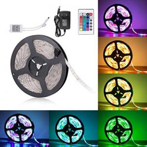 Sunnest Ruban LED 3528 RGB Etanche 5M Strip Light Multicolore 300 LED Télécommande Infrarouge 24 Touches + Adapteur + Alimentation 2A 12V de la marque Sunnest image 0 produit