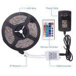 Sunnest Ruban LED 3528 RGB Etanche 5M Strip Light Multicolore 300 LED Télécommande Infrarouge 24 Touches + Adapteur + Alimentation 2A 12V de la marque Sunnest image 3 produit