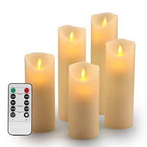 """TEECOO Flocons sans flamme Bougies LED Φ 2,2""""x H 5"""" 6"""" 7"""" 8"""" 9"""" Ensemble de 5 piliers réels de cire non en plastique avec minuterie de commande à distance de 10 touches 220 heures (5, ivoire) de la marque TEECOO image 0 produit"""