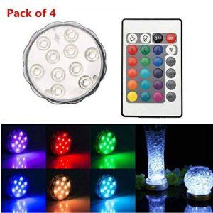TKOOFN Lot de 4 Lampes 10 LED Bougie Plongée Lumière Etanche IP65 Multicolore Décoration Télécommande à Distance de la marque TKOOFN image 0 produit