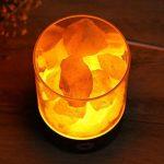 Tomnew Naturel lampe de sel de l'Himalaya, USB véritable Himalaya Himilian Rose Rock en cristal de sel lampe Bon pour la santé Petite minérale négatifs Lonic Pierre de lave Sel lumière de nuit pour chambre à coucher Bureau, Plastique, blanc, Round de la m image 1 produit