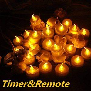 Topstone Lot de 24 lumières LED bougies à piles avec télécommande Bougies sans flamme vacillante avec 4 h, 6 h, 8 h Minuteur, pour mariage, anniversaire, fête de Noël de la marque Topstone image 0 produit