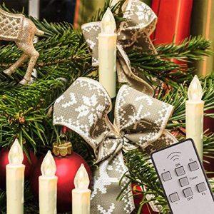 TRESKO® Lot de 20 Bougies LED de Noël sans flamme Eclairage aux bougies pour intérieur et extérieur sans fil imperméable IP46 Télécommande Mise hors circuit automatique gradable Guirlande lumineuse de la marque TRESKO image 0 produit
