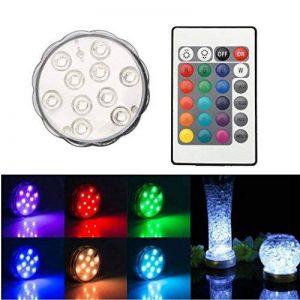 Ulako 10 LED Lumière Waterproof pour Vases imperméable Multi couleur Colorful RVB Submersible Sous-marine durable Pratique ampoule pour maison ou mariage soiree Télécommande de la marque Ulako image 0 produit