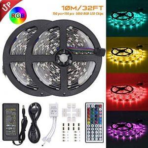 【Upgrade】 Ruban de LED, Jirvyuk Ruban de LED Multicolores 5050 RGB SMD Flexible Kit de Ruban à LED- 32.8ft (10M) 300 LEDs + Adapteur + Alimentation + Télécommande à Infrarouge 44 Touches de la marque Jirvyuk image 0 produit