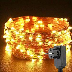 Uping Guirlande Lumineuse Etanche 丨10M, 100 Micro LEDs Etoilés丨Câble en Cuivre Pliable 丨8 Modes avec Prise EU丨Décoration Intérieur & Extérieur (Blanche chaude) de la marque Uping image 0 produit