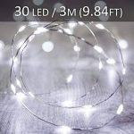 Ustellar 3M 30 LEDs Lot de 8 Guirlandes Lumineuses à Piles (Inclus), IP65 Étanche, Blanc, Fil Argenté, Guirlandes Lumineuses LED Décoration Interieur Table Mariage Lit Fête de la marque Ustellar image 4 produit
