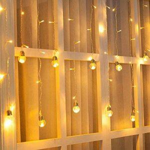 Ustellar Rideau lumineux, 8 Modes d'Eclairage, 3M X 0,8M, 108 LED, DC 31V, Etanche IP65, Lumière Blanc Chaud, Guirlande Lumineuse LED , Décoration Fenêtre Chambre Mariage Noël de la marque Ustellar image 0 produit