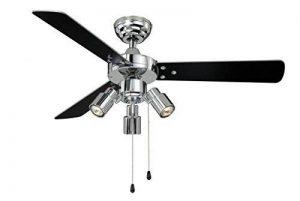Ventilateur de plafond Cyrus avec éclairage et tirettes, 107 cm, finition chrome brillant, pâles réversibles noir / argent de la marque AireRyder image 0 produit