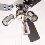 Ventilateur de plafond Cyrus avec éclairage et tirettes, 107 cm, finition chrome brillant, pâles réversibles noir / argent de la marque AireRyder image 4 produit