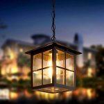 Vintage E27 Suspension Extérieur Lampe En Verre Noir Aluminium Pendentif Luminaires Imperméable IP23 Rétro Plafonnier Suspendu Hauteur Réglable Extérieur Luminaire 18 * 18Cm de la marque HONGOU LIGHT image 1 produit
