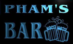 w000498-b PHAM'S Nom Accueil Bar Pub Beer Mugs Cheers Neon Sign Biere Enseigne Lumineuse de la marque AdvPro Name image 0 produit