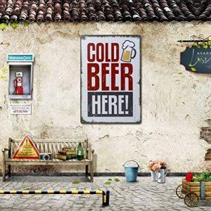 winomo bière ici peinture étain signe Bar Pub Home Décor Rétro Métal Art Mural Poster de la marque WINOMO image 0 produit
