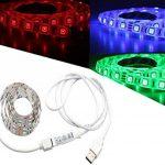 WYBAN TV RGB 5050 SMD Lampe 60 LED Rétroéclairage Ruban étanche de 2M (6.56 ft) équipé d'un mini contrôleur et d un câble USB Idéale pour Décoration TV Derrière,PC,Voiture,Vélo,Fête,partie (Blanc 2m) de la marque WYBAN image 1 produit