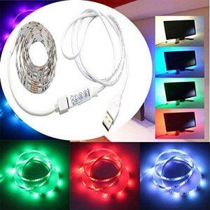 WYBAN TV RGB 5050 SMD Lampe 60 LED Rétroéclairage Ruban étanche de 2M (6.56 ft) équipé d'un mini contrôleur et d un câble USB Idéale pour Décoration TV Derrière,PC,Voiture,Vélo,Fête,partie (Blanc 2m) de la marque WYBAN image 0 produit