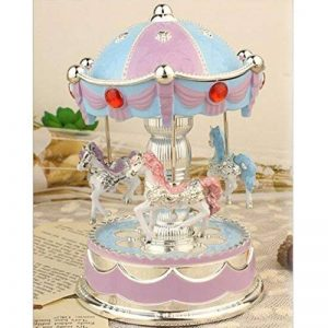 XuanMax Carrousel Boite a Musique 3-Cheval Manege Merry-Go-Round Jouets Colore Veilleuse avec A Alice Melody pour Enfants Noel Anniversaire Gift - Bleu de la marque XuanMax image 0 produit