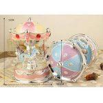 XuanMax Carrousel Boite a Musique 3-Cheval Manege Merry-Go-Round Jouets Colore Veilleuse avec A Alice Melody pour Enfants Noel Anniversaire Gift - Pink de la marque XuanMax image 3 produit