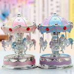 XuanMax Carrousel Boite a Musique 3-Cheval Manege Merry-Go-Round Jouets Colore Veilleuse avec A Alice Melody pour Enfants Noel Anniversaire Gift - Pink de la marque XuanMax image 1 produit