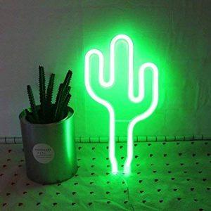 YTAT Lampe Néon Déco LED Veilleuse Neon Light Sign Batterie et USB Power Neon Light Decor Decor pour le Mariage Anniversaire Fête de Noël Partie (Green Cactus) de la marque YTAT image 0 produit