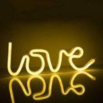 Zewoo LOVE en Forme de Néon LED Night Light, Lampe LED Chaud Blanc Briller Décor Intérieur Lampes de Nuit, Batterie et USB Power Neon Light Decor Decor pour le Mariage Anniversaire Fête de Noël Partie de la marque ZeWoo image 1 produit