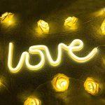 Zewoo LOVE en Forme de Néon LED Night Light, Lampe LED Chaud Blanc Briller Décor Intérieur Lampes de Nuit, Batterie et USB Power Neon Light Decor Decor pour le Mariage Anniversaire Fête de Noël Partie de la marque ZeWoo image 2 produit